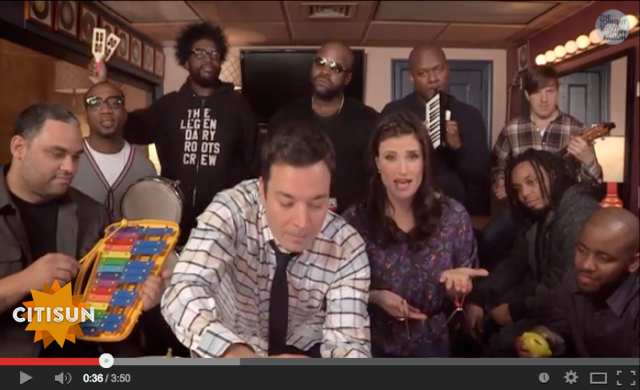 Idina Menzel, Jimmy Fallon and The Roots perform Frozen's
