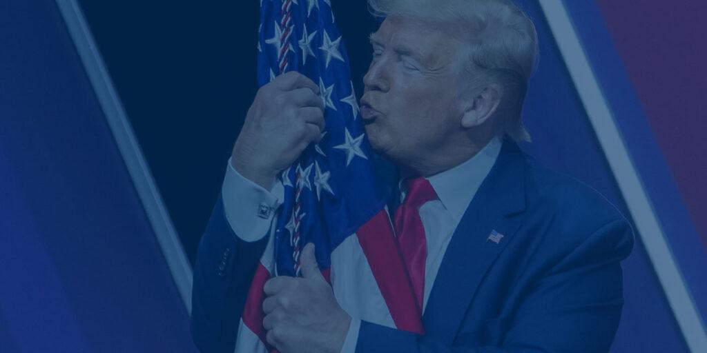 Trump Hugging the US Flag